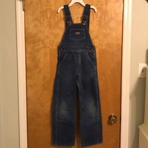 OSH KOSH Denim Vestbak Flannel Lined Overalls 7/6x